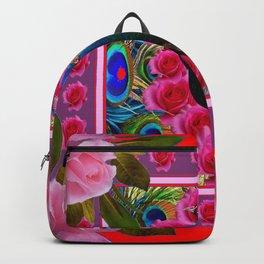 BLUE PEACOCK &  PINK ROSE FLOWERS RED MODERN ART Backpack