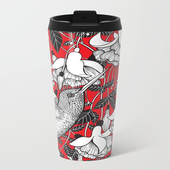 Hummingbird and fuchsia, red background Metal Travel Mug