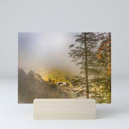 Mountains in the mist Mini Art Print