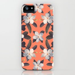 White Angel Flowers in Tangerine Frost iPhone Case