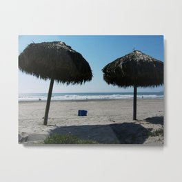 Tiki Umbrellas Rosarito Beach Mexico Metal Print