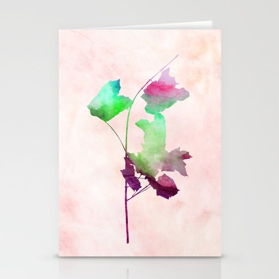 maple 2 watercolor by Jacqueline Madonado & Garima Dhawan Stationery Cards