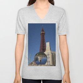 Blackpool tower lens ball Unisex V-Neck