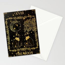 "Tarot ""The moon"" - gold - cat version Stationery Cards"