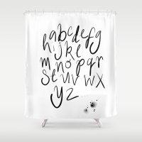alphabet Shower Curtains featuring Alphabet by Heidi Nicole