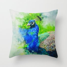 Painted Peacock Throw Pillow
