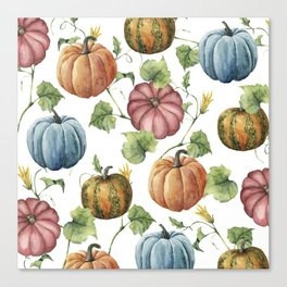 PUMPKINS WATERCOLOR Canvas Print