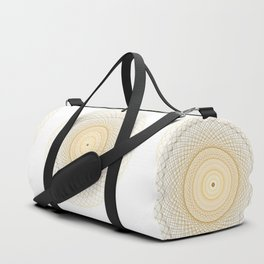 Golden geometry on white Duffle Bag