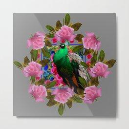 GREY COLOR PINK ROSES &  GREEN PEACOCK ART Metal Print
