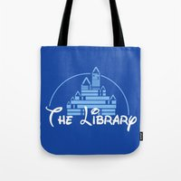 library Tote Bags featuring The Library  by bookwormboutique