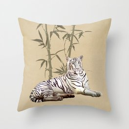 White Tiger in Bamboo Forest Throw Pillow