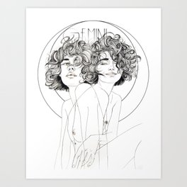Gemini Zodiac (The Twins) Art Print