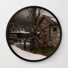 Winter Water Mill At Lake Jasna Wall Clock