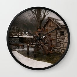 Winter Water Mill At Lake Jasna Wall Clock
