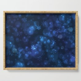 Blue Snowflakes Winter Christmas Pattern Serving Tray
