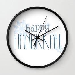 Happy Hanukkah | Snowflakes Wall Clock