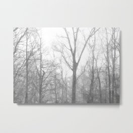 Black and White Forest Illustration Metal Print
