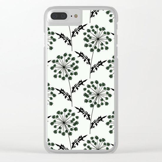 Delicate flowers on a black background. Clear iPhone Case