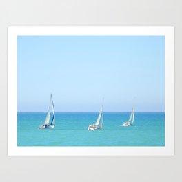 Sailboat Trio (New Zealand Collection) Art Print