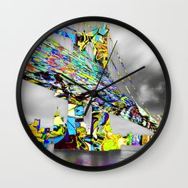 New York City Manhattan Bridge Pure Pop Gold Wall Clock