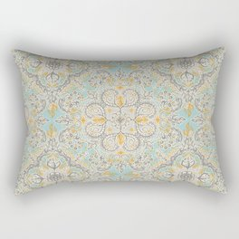 Gypsy Floral in Soft Neutrals, Grey & Yellow on Sage Rectangular Pillow