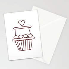 Cupcake Heart Stationery Cards