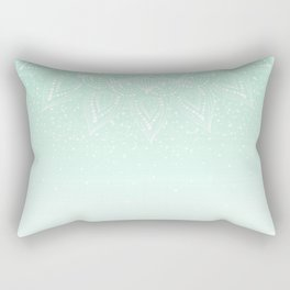 Elegant white and mint mandala confetti design Rectangular Pillow