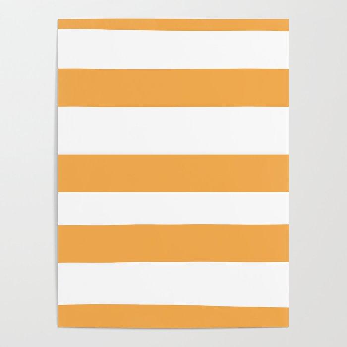 VA Bright Marigold - Spring Squash - Pure Joy - Just Ducky Hand Drawn Fat Horizontal Lines on White Poster