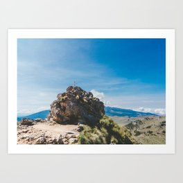 Cross at the top of the Iztaccihutal Volcano, Mexico City Art Print