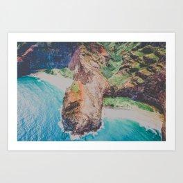 blue shores on napali Art Print