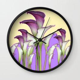 WHITE-MAROON CALLA LILIES PURPLE VIOLET ART DESIGN Wall Clock