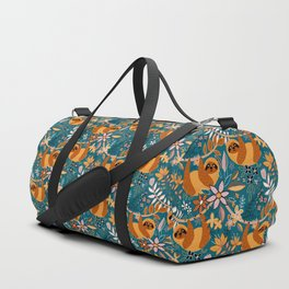 Happy Boho Sloth Floral Duffle Bag