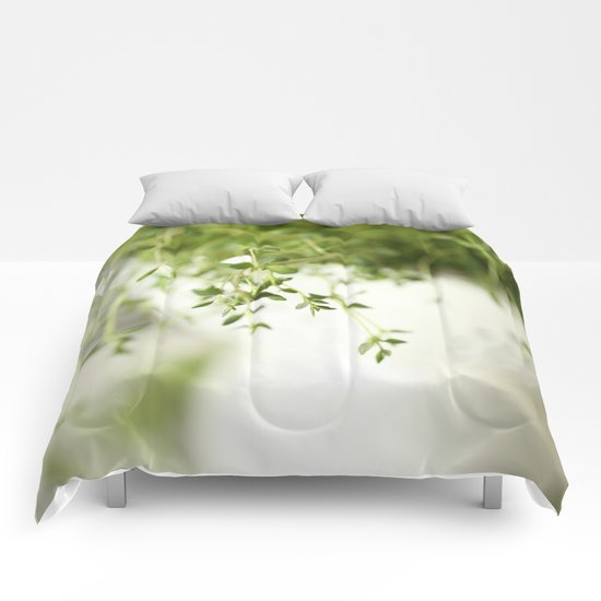 Fresh Herb In A White Pot Comforters