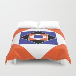 Orange and Blue Squares Duvet Cover