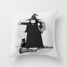 Witch Hiker Throw Pillow