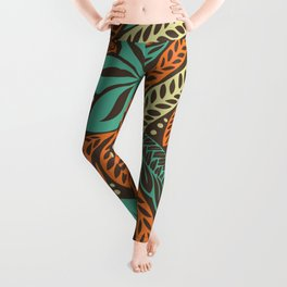 Blue orange retro colored Polynesian Hawaiian floral tattoo design Leggings