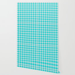 Aqua or Cyan Buffalo Plaid Wallpaper