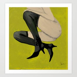 Lady with shoes 3 Art Print
