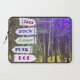 """Choice of the direction, music styles. Inscriptions """"Jazz"""", """"ROCK"""", """"Lounge"""", """"PUNK"""", """"POP"""". Laptop Sleeve"""