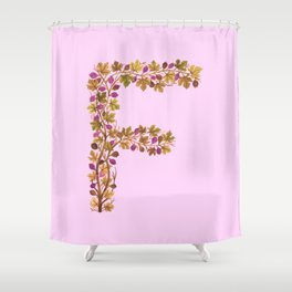 Leafy Letter F Shower Curtain