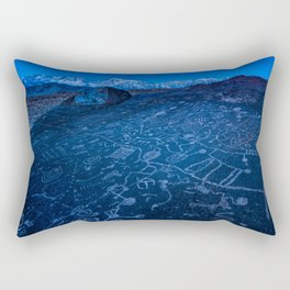 Sunrise On Sky Rock Petroglyph And Sierra Nevada Mountains Rectangular Pillow