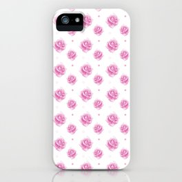 Pink Rose Pattern with Dots iPhone Case
