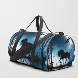 Beautiful unicorn with flying dragon in the sky Duffle Bag