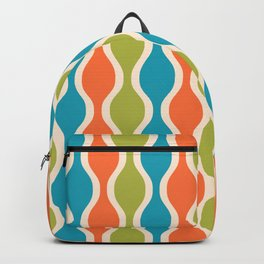 Classic Retro Ogee Pattern 841 Orange Green and Turquoise Backpack