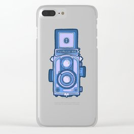 Vintage camera blue Clear iPhone Case