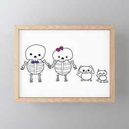 Skeleton Family Man Woman Cat Dog Framed Mini Art Print