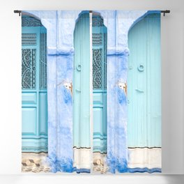 Doors - Chefchaouen VI - The Blue City, Morocco Blackout Curtain
