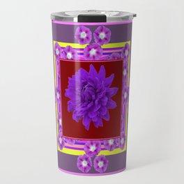 Amethyst Purple Dahlia Morning Glories Puce Color Abstract Travel Mug