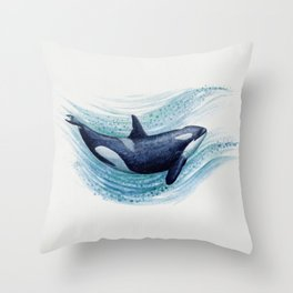 """""""Orca Spash"""" by Amber Marine ~ Watercolor Killer Whale Painting, (Copyright 2016) Throw Pillow"""