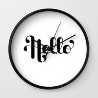 lettering Wall Clocks featuring Hello Lettering by Roberlan Borges